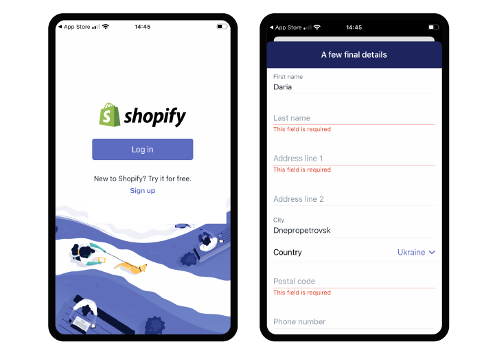 Shopify mobile app