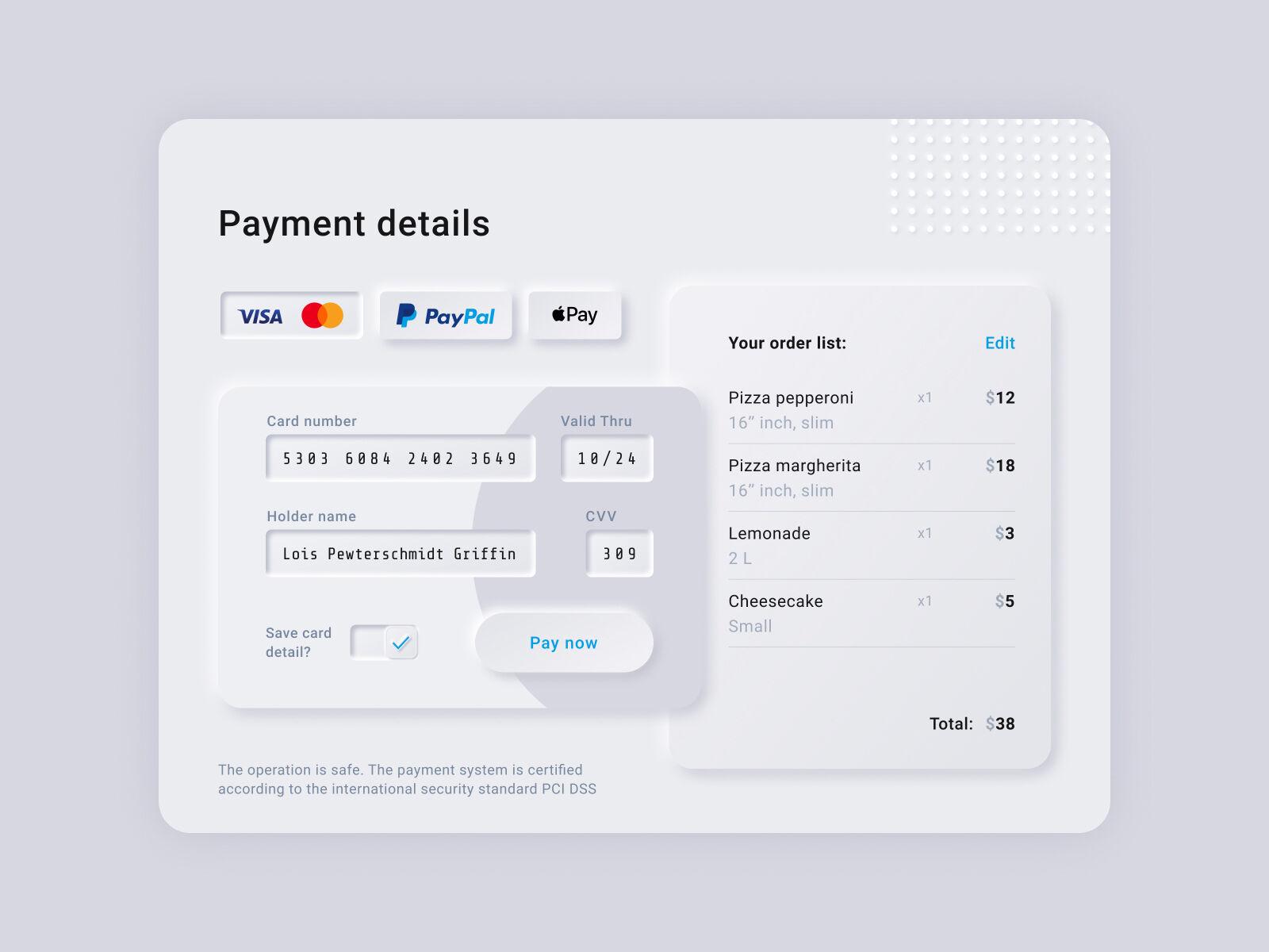 Payment details concept